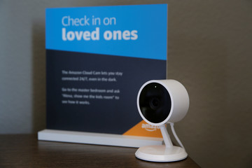 An Amazon Cloud Cam is seen in a child's bedroom in an Amazon 'experience centre' in Vallejo