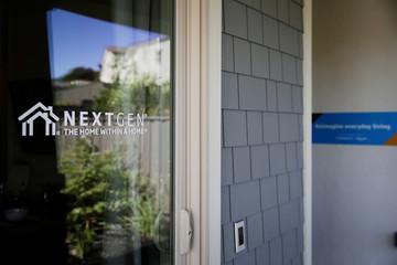 A 'Nextgen' logo is seen at an Amazon 'experience center' in Vallejo