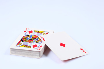 card deck with diamonds. ace and king on the top isolated on white background.