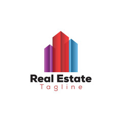 Colorful real estate building logo template