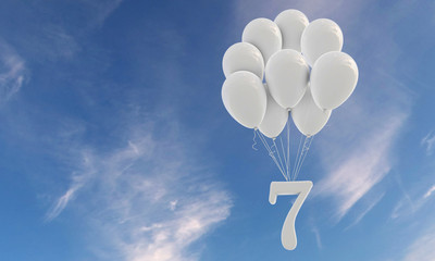 Number 7 party celebration. Number attached to a bunch of white balloons against blue sky