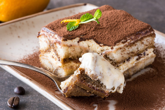 Italian Dessert Tiramisu with Mascarpone Cheese and Espresso Coffee