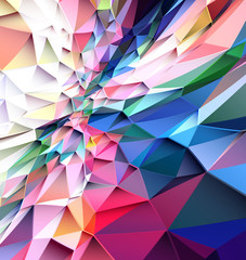 Colorful low poly triangular shapes geometric background with vibrant color tone.