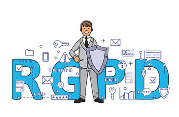 Smiling man with a shield among digital and internet symbols in front of RGPD letters. General Data Protection Regulation. GDPR, RGPD, DSGVO, DPO. Concept vector illustration. Flat style. Horizontal