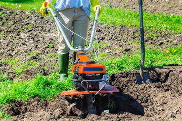 Woman pushing cultivator on field