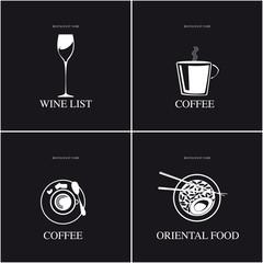 Vino caffè cibo orientale. Elementi di design per poster, carta menu.