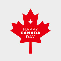 Canada Day Vector Illustration. Happy Canada Day Holiday Poster Design. Red Canadian Leaf Isolated on a white background