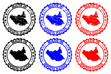 Made in South Sudan - rubber stamp - vector, Republic of South Sudan map pattern - black, blue and red