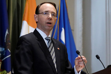 Deputy U.S. Attorney General Rod Rosenstein speaks at a New York City Bar event in New York