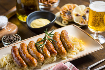 Homemade Pork Sausages with Cabbage, Mustard and Beer