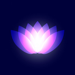 Abstract graphic neon purple yoga lotus petals on dark blue starry sky, space or universe. Shining Lotus Flower design graphic object. International yoga day vector eps 10 illustration