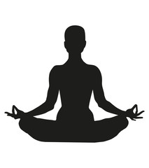 Famale or person body in yoga lotus asana isolated on white background. Black silhouette of a woman in a lotus pose. Graphic object. International yoga day.