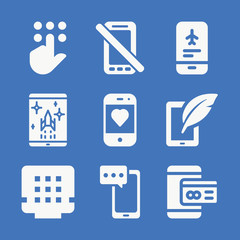 Set of 9 smartphone filled icons