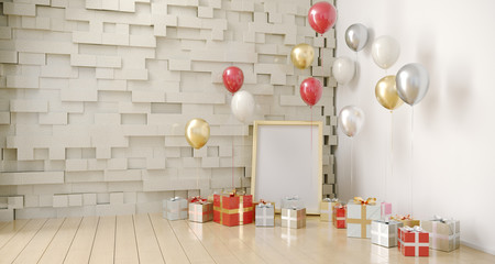 Empty Room With Balloons And Present With Empty White Board. 3D Rendering