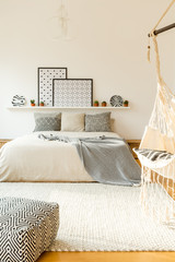 Scandi patterned bedroom interior