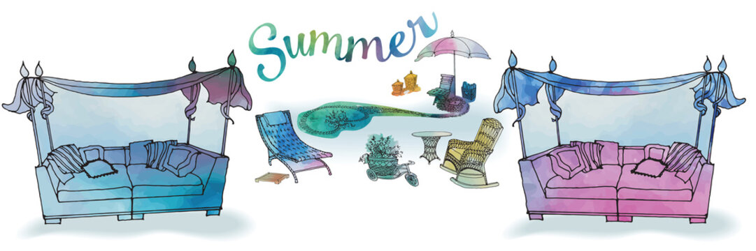 A set of outdoor furniture for summer and recreation for the garden, a sofa with a canopy, a chaise longue, an umbrella and a pond