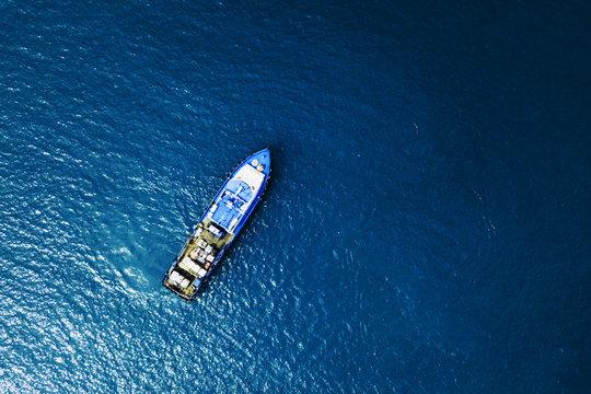 ship in ocean top view