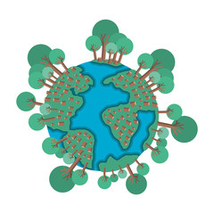world planet earth with trees vector illustration design