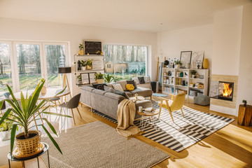 Two carpets on the floor in white Scandi living room interior with big window, glass door, corner sofa, fireplace and fresh plants