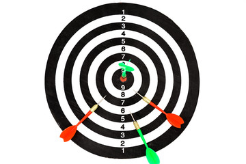 Closed up of dartboard and arrows isolated on white background, sport and business goal concept.