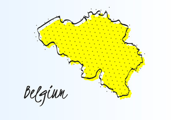Map of Belgium, halftone abstract background. drawn border line and yellow color