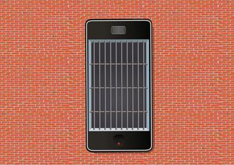 smartphone - concept - addiction - prison - téléphone - liberté - prisonnier - information - info