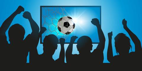 football - foot - footballeur - but - marquer - ballon - spectateur - TV - sport - match - sportif - télé - média