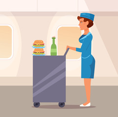 Stewardess with the food
