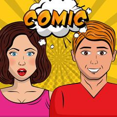 beautiful couple speech bubble pop art comic vector illustration