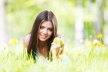 Woman on flower field