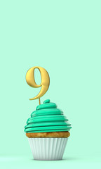 Number 9 mint green birthday celebration cupcake. 3D Rendering