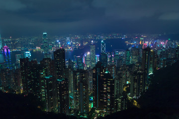 Night-view on Hong Kong and Victoria harbour in futuristic style