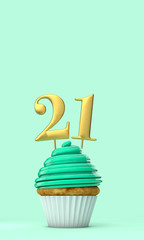 Number 21 mint green birthday celebration cupcake. 3D Rendering