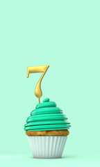 Number 7 mint green birthday celebration cupcake. 3D Rendering