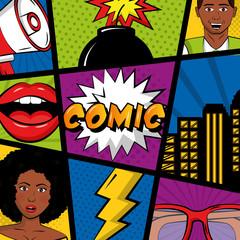 comic pop art background people speech bubbles glasses boom lips vector illustration