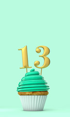 Number 13 mint green birthday celebration cupcake. 3D Rendering