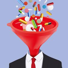 médicament - concept - santé - médecine - entonnoir - addiction - ordonnance - maladie
