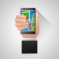 gps navigation application elegant hand holding cellphone connection arrival point location vector illustration