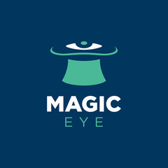 Modern professional vector logo magic eye in blue and green theme
