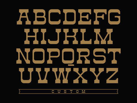 Western typeface. Vector alphabet with latin letters in balck and gold theme