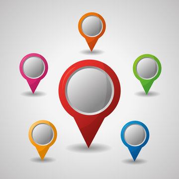 gps navigation many pin maps colored destination location vector illustration