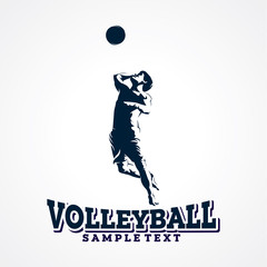 Volleyball Sport Silhouette Logo Designs Template