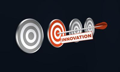 """Pfeil mit """"Innovation"""" auf Zielscheibe, Konzept. 3d render"""