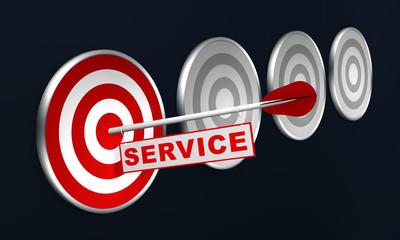 Pfeil mit Service auf Zielscheibe, Konzept.