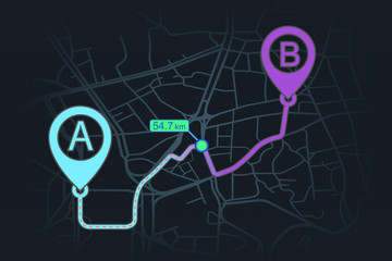 GPS navigator design page. pin checking point A to point B with distance pointer in blue and purple color. vector illustration