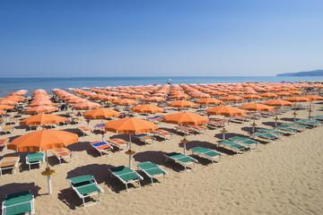 Umbrellas on sandy beach in Apulia, Italy