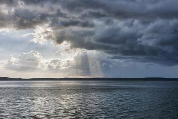 Scenic view of sea against cloudy sky, La punta, Cienfuegos, Cuba