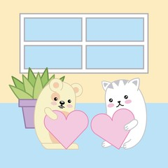 kawaii mouse and cat holding hearts love animal cartoon vector illustration