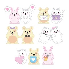 kawaii animals mouse kitty cat and rabbit cartoon vector illustration