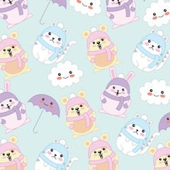 kawaii cat rabbit mouse wear winter clothes background vector illustration